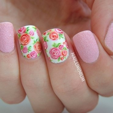 Pink Roses nail art by Margee C.
