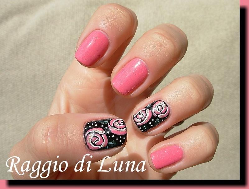 Pink roses on black nail art by Tanja