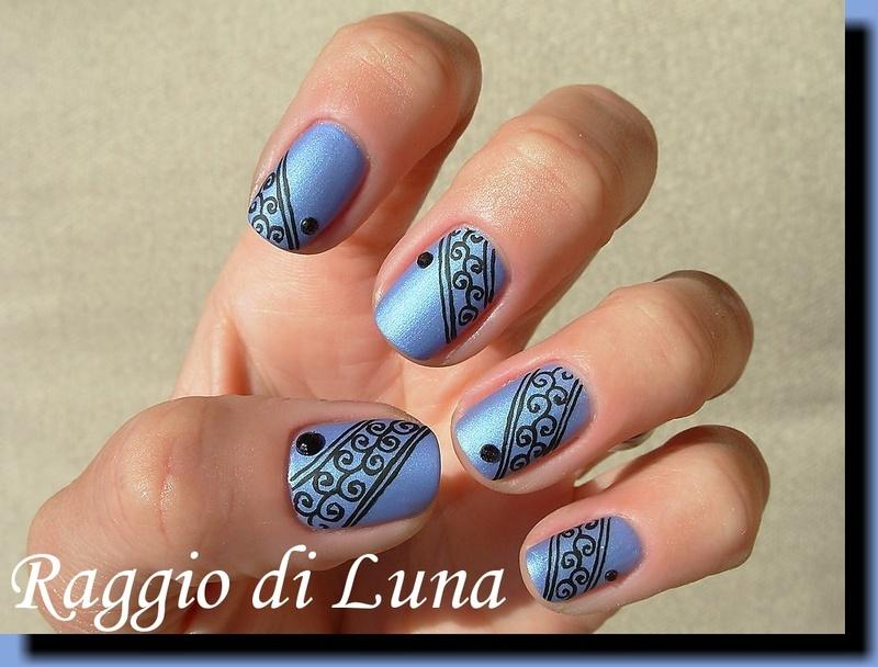 Black swirl lace on dark blue nail art by Tanja