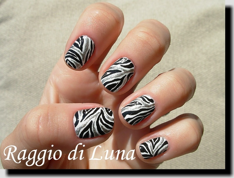 Black & white & silver zebra nail art by Tanja