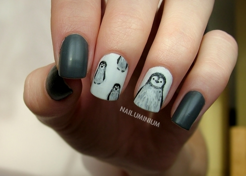 Baby Penguin! nail art by Margee C.