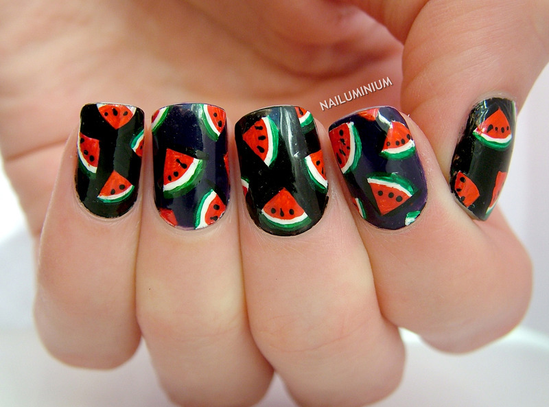 Watermelons nail art by Margee C.