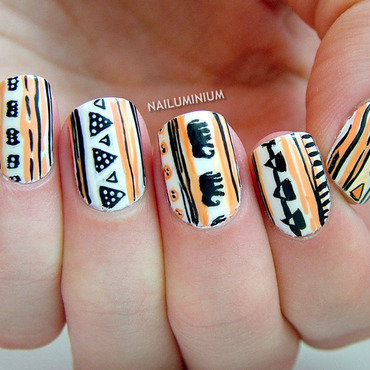 H&M Tribal nail art by Margee C.