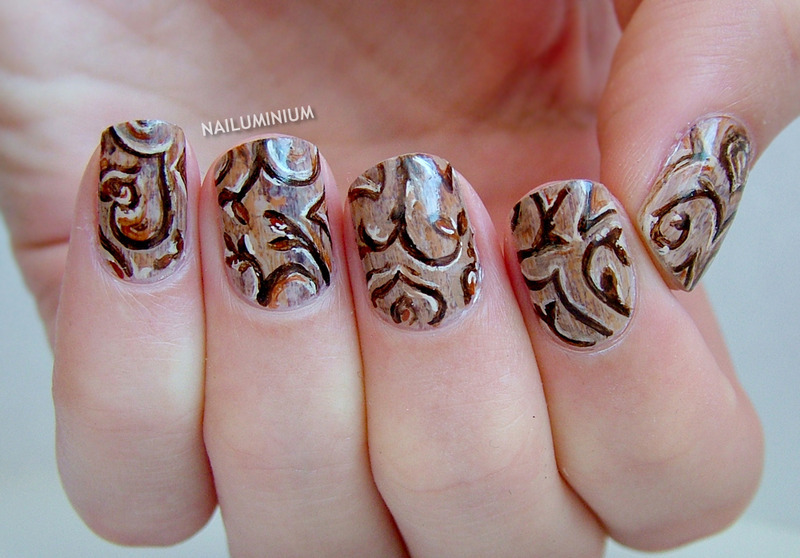 Woodcarving nail art by Margee C.