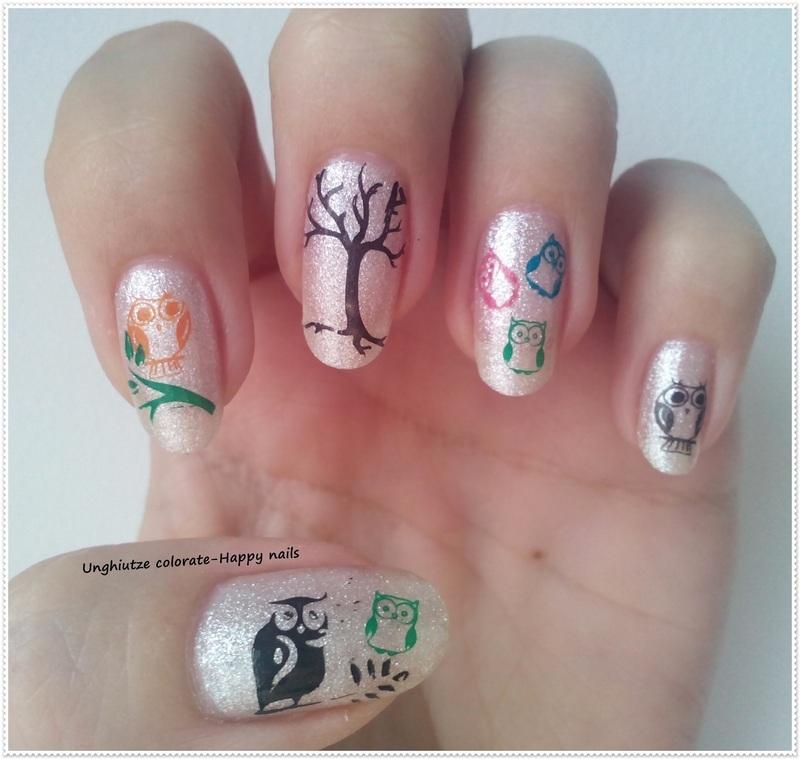 Owls nail art by Oana  Alexandru