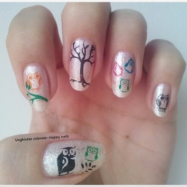 Owls nail art by Oana  Alexandru