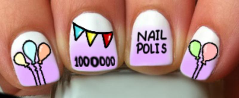 Celebrating 1 Million Fans of Nail Polis nail art by misha321