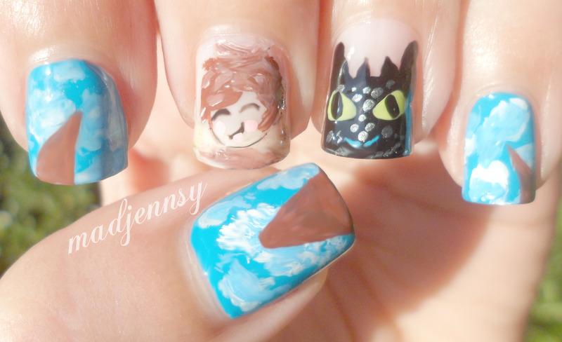 How to Train Your Dragon 2 Nail Art  nail art by madjennsy Nail Art