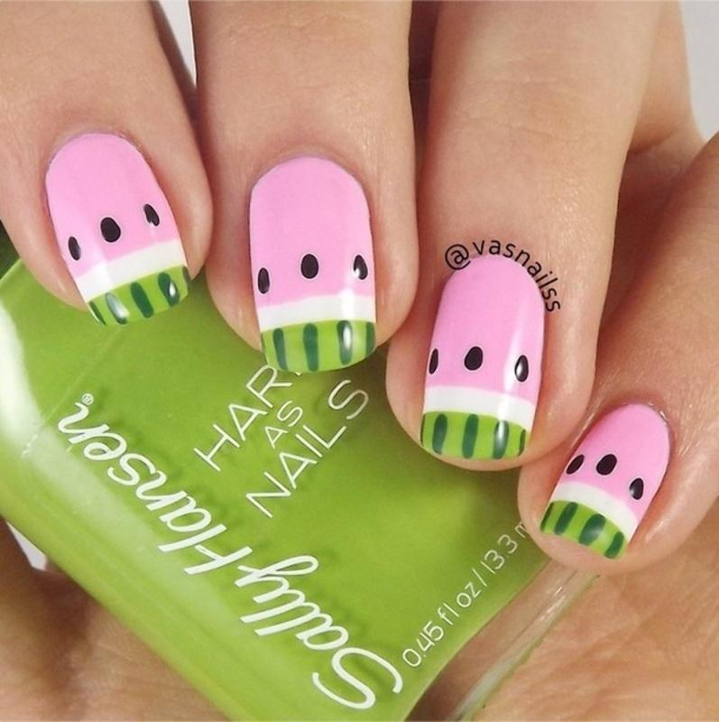 Watermelon nail art by  Vanesa