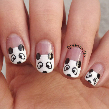 Panda nail art by  Vanesa