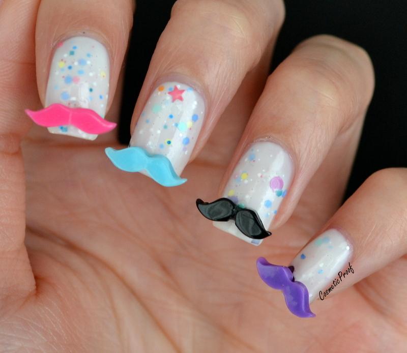 3D Moustaches nail art by Jayne