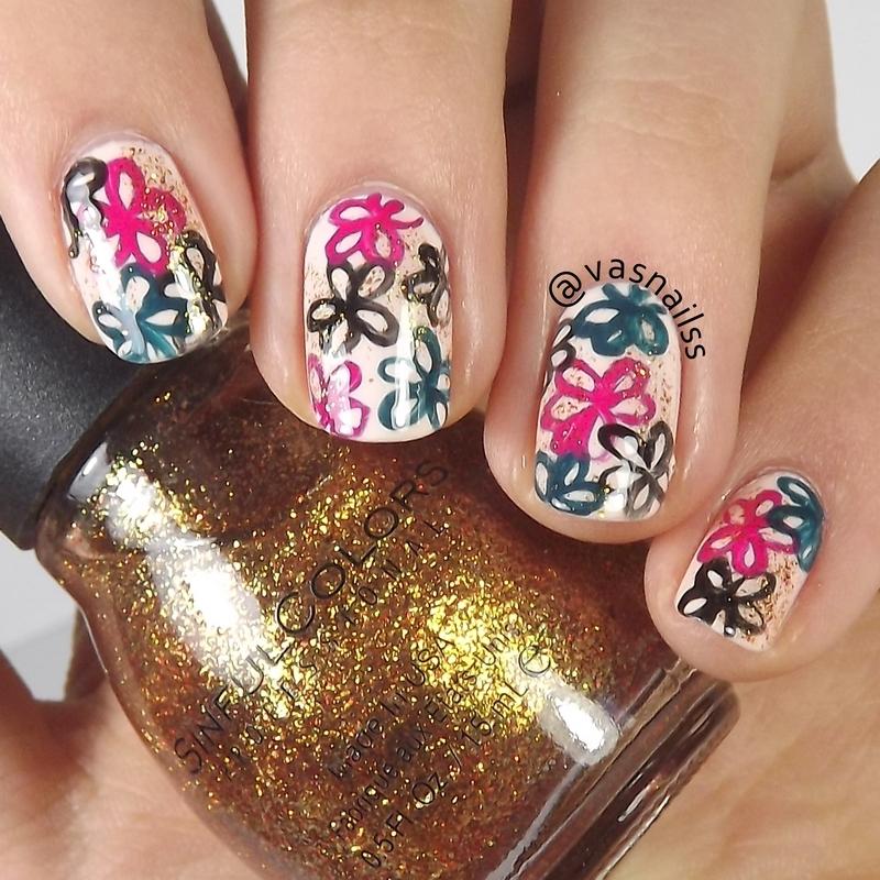 Handmade Flowers nail art by  Vanesa