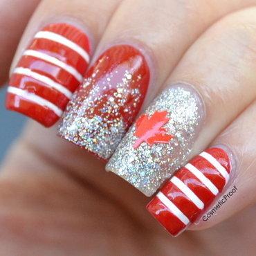 Happy Canada Day! nail art by Jayne