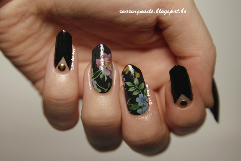 Black Floral nail art by Robin