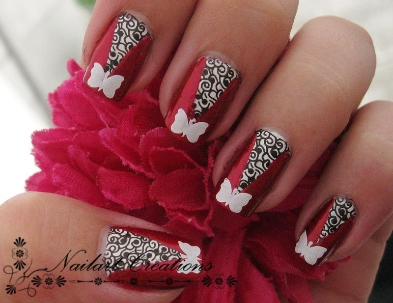Modern Butterfly Nailart nail art by Nailart Creations