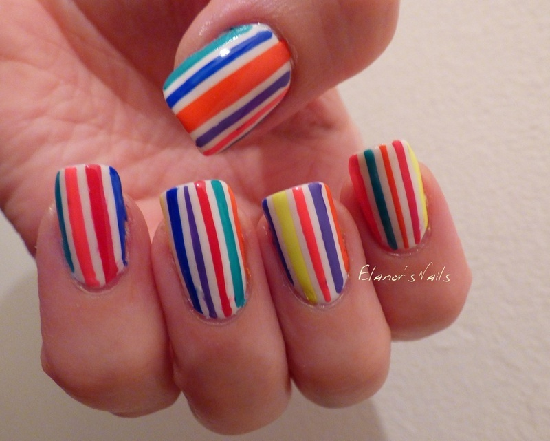 Neon Stripes! nail art by Ginger_Elanor