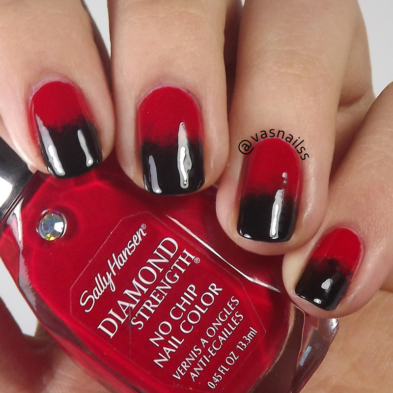 Black And Red Gradient nail art by  Vanesa
