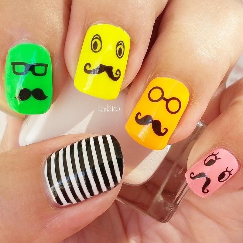 Funny Faces nail art by Iliana S.