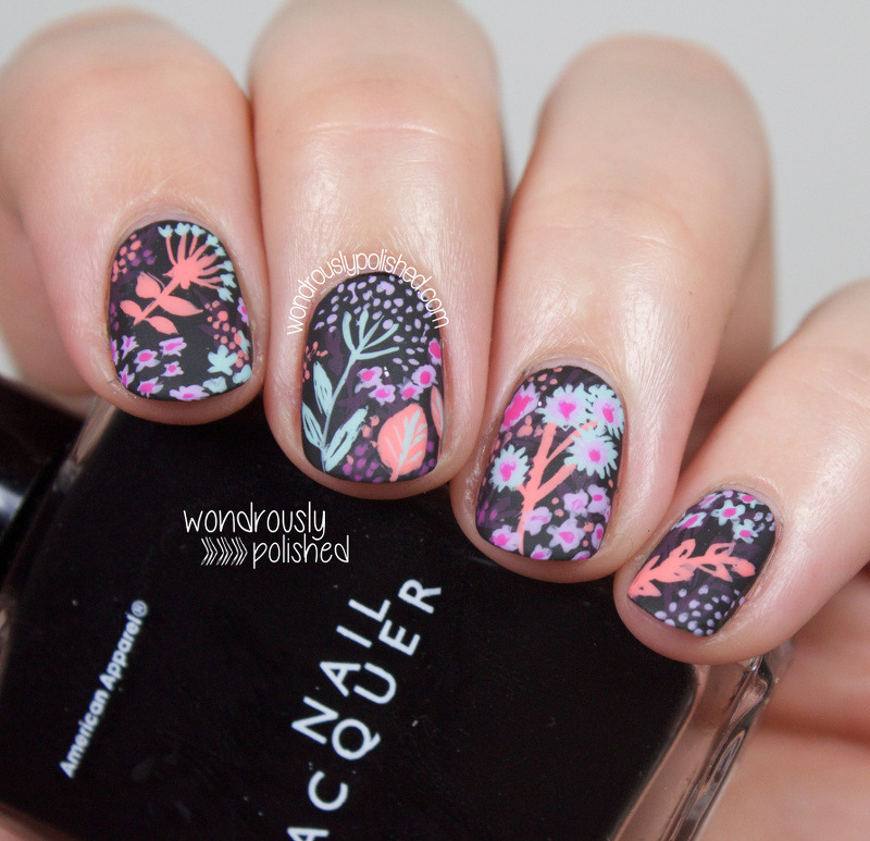 Black Base Floral nail art by Lindsey W