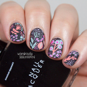 Wondrously polished black background neon pastel floral nail art 204 thumb370f