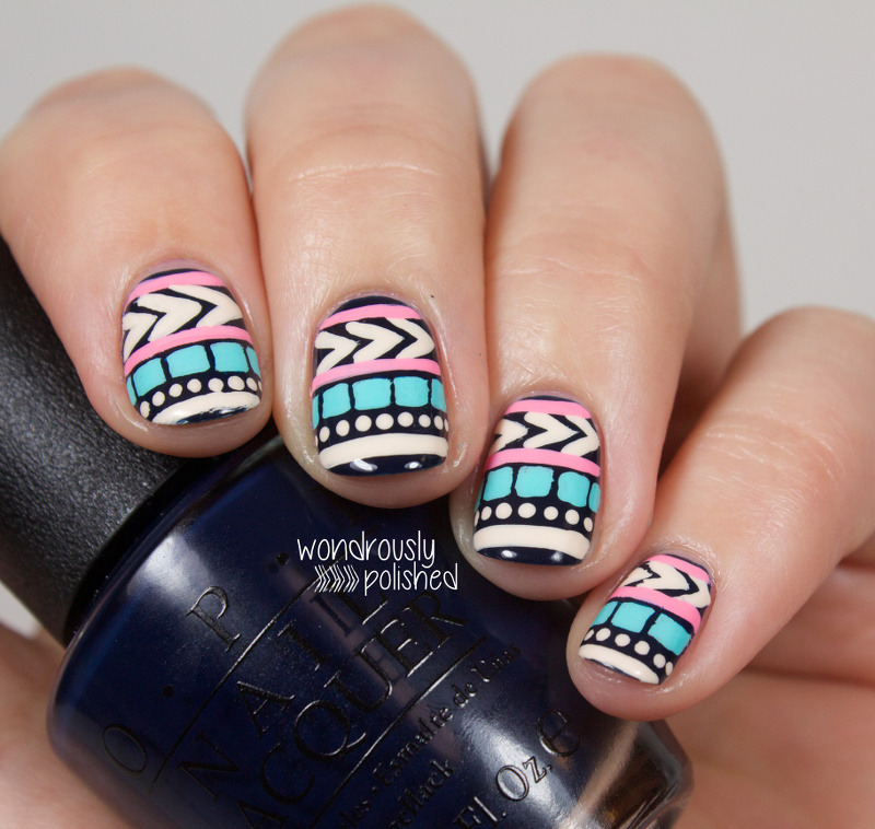 Bold Tribal  nail art by Lindsey W