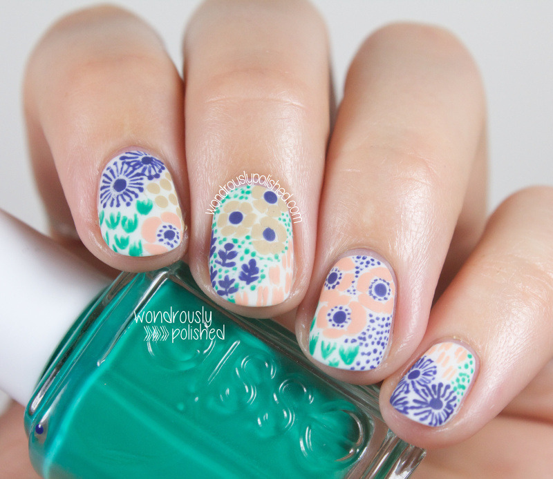 Vintage Floral nail art by Lindsey W