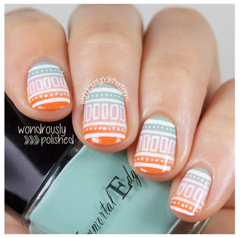 Gradient Tribal nail art by Lindsey W