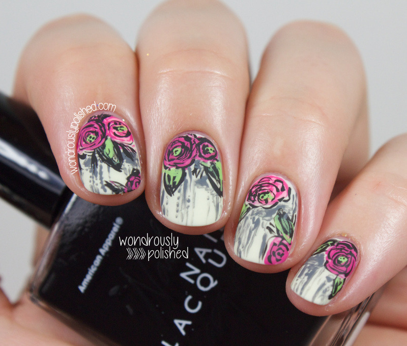 Grungy Sketched Floral nail art by Lindsey W