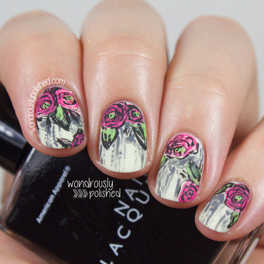 Wondrously polished grunge sketched floral nail art 205 thumb370f