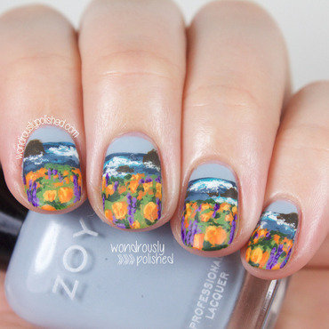 Wondrously polished the digital dozen does countires and cultures california coast beach cliff poppy lupin landscape nail art 208 thumb370f