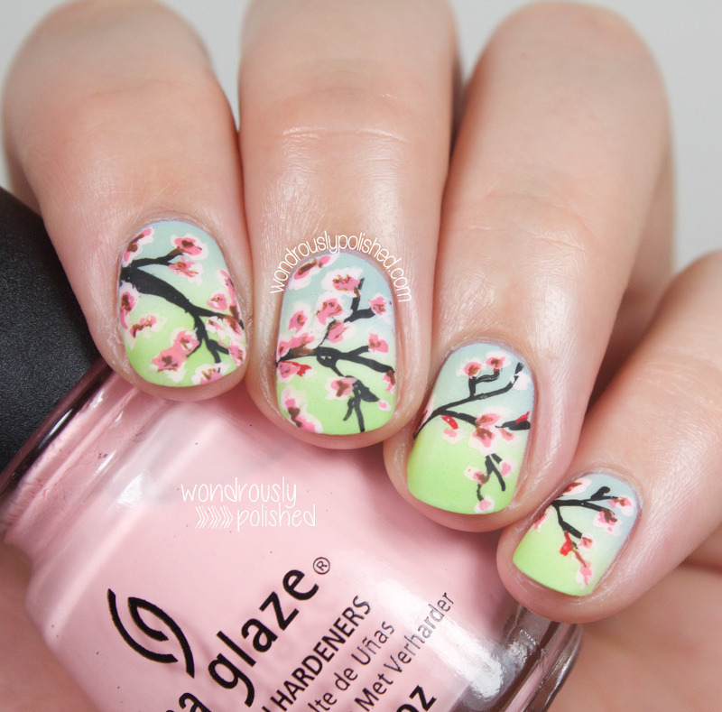 Cherry Blossoms nail art by Lindsey W