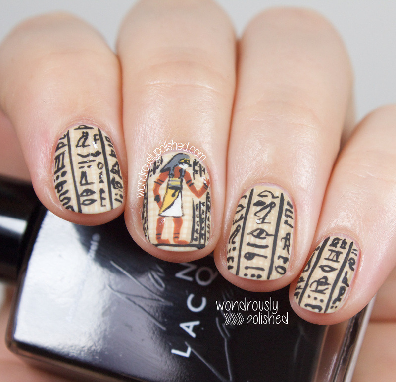 Egyptian Hieroglyphs nail art by Lindsey W