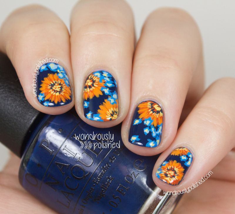 Contrasting tones - Orange and Blue floral nail art by Lindsey W