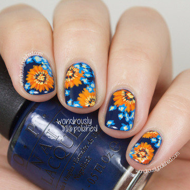 Wondrously polished nail art a go go contrast orange and blue flower floral nails daisy 207 thumb370f