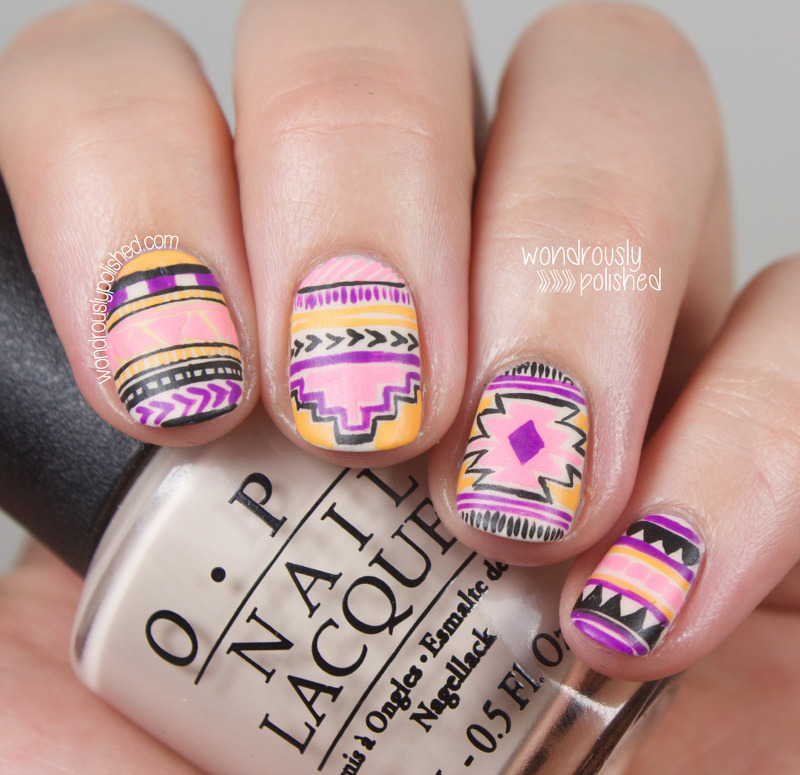 Neon Tribal nail art by Lindsey W