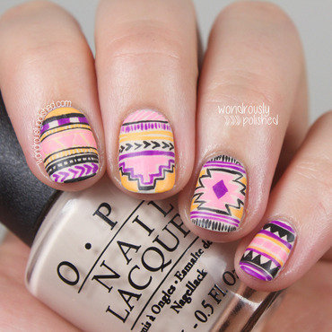 Wondrously polished neon tribal nail art nagg challenge 205 thumb370f