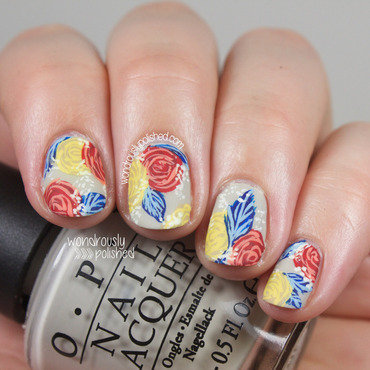 Wondrously polished primary color blue red yellow floral nail art 203 thumb370f