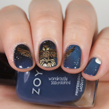 Wondrously polished nail art nagg night sky owl flying nails art moon 201 thumb370f