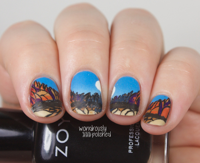 The Blue Sword nail art by Lindsey W