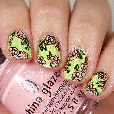 Wondrously polished floral stripes dots roses sketched nail art 201 thumb370f