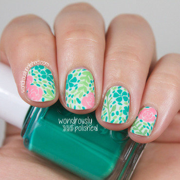 Wondrously polished floral vintage wallpaper fabric nail art 209 thumb370f