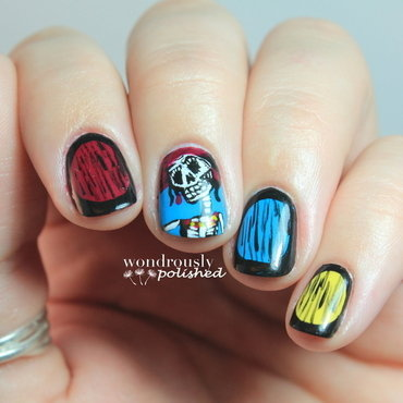 Sofa King Bueno Skeleton Girl nail art by Lindsey W