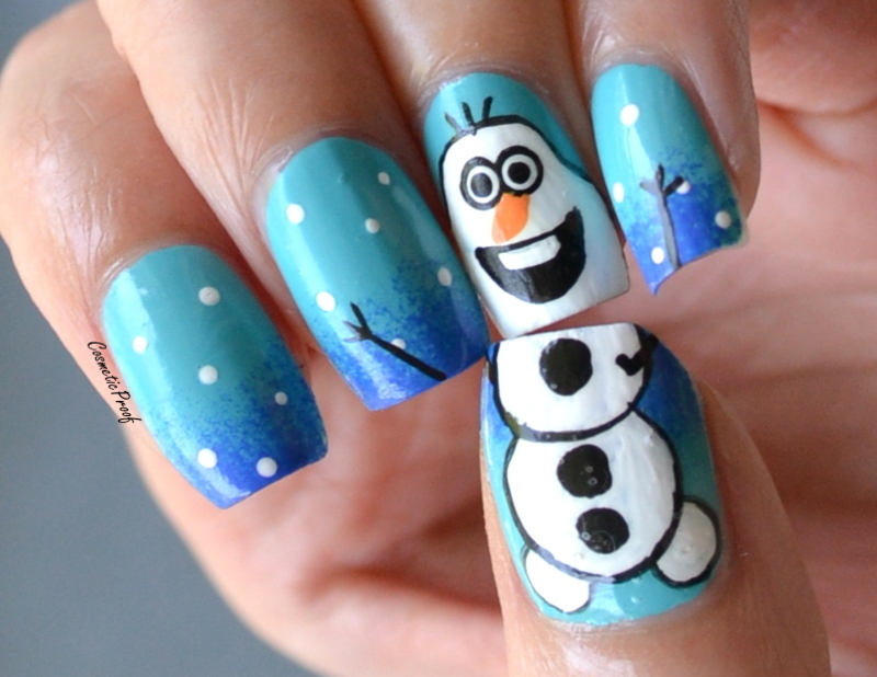 It's Olaf! nail art by Jayne