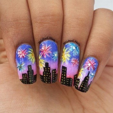 Fireworks nails nail art by Gifted_nails