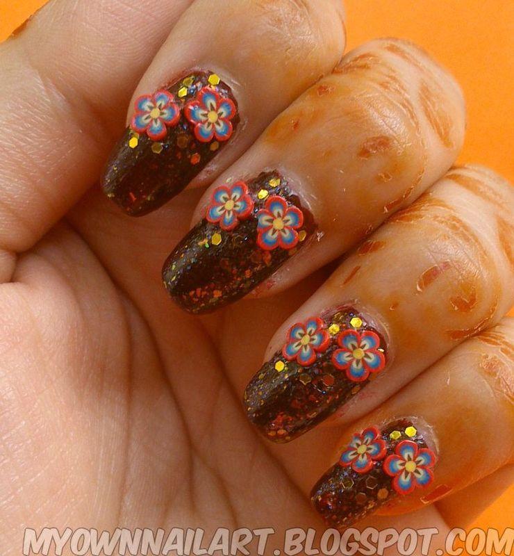 floral nail art nail art by Haniya Sajid