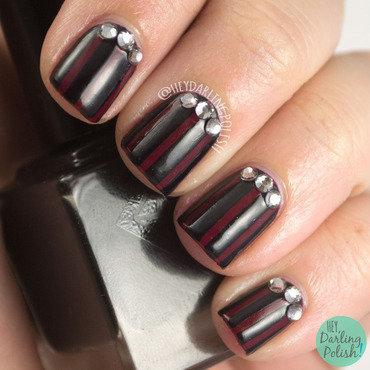 Vampy Stripes nail art by Marisa  Cavanaugh