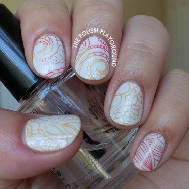 Red and Orange Swirly Floral Stamping nail art by Lisa N