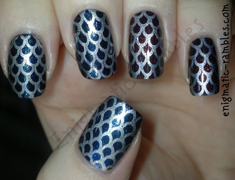 Millions of fish-scales for Millions of Fans nail art by Enigmatic Rambles