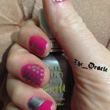Pink and Silver nail art by The_Oracle
