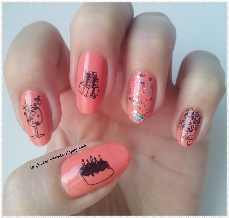 Party time mani nail art by Oana  Alexandru